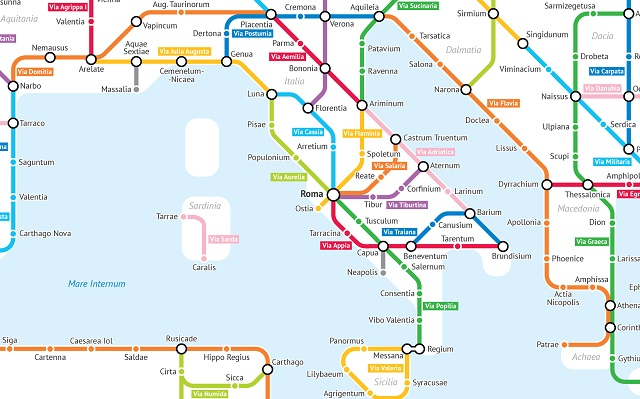 D Subway Map.This Map Shows Ancient Roman Roads As A Subway Network Tesori D